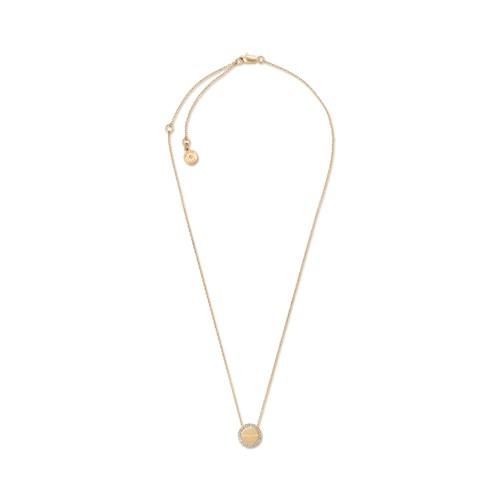 Michael-Kors Logo Pavé Gold-Tone Disc Pendant Necklace Mkj6178710 Jewelry - ..
