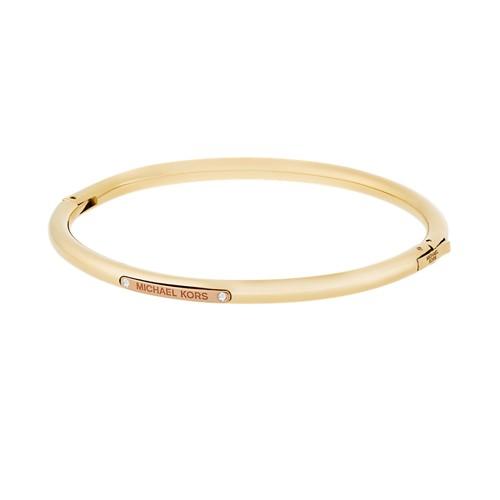 Michael-Kors Tailored Two-Tone Gold-Tone Logo Plaque Hinged Bracelet Mkj6353..