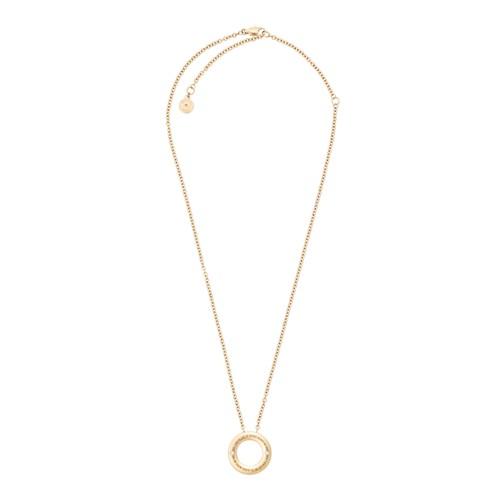 Michael-Kors Haute Hardware Gold-Tone And Pavé Logo Grommet Pendant Necklace..