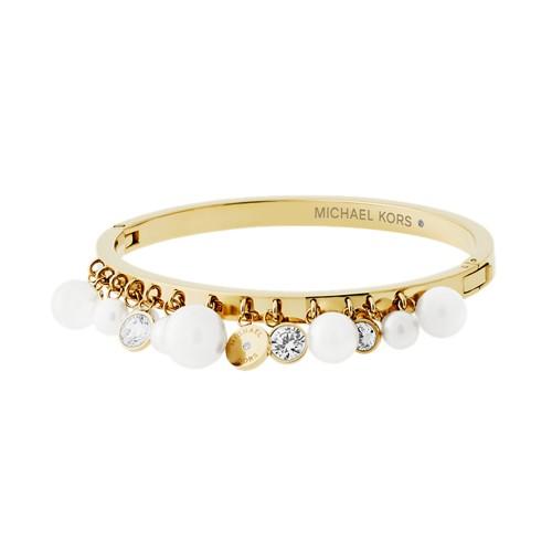 Michael-Kors Modern Classic Pearl Gold-Tone And White Pearl Charm Hinge Brac..