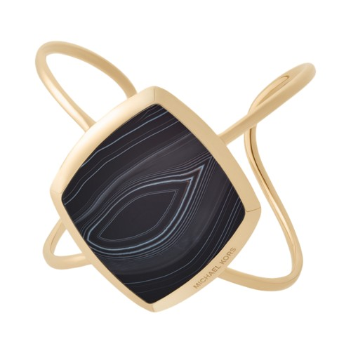 Michael-Kors Cool &Amp; Classic Gold-Tone And Black Agate Cuff Mkj6777710 Jewelry - MKJ6777710-WSI