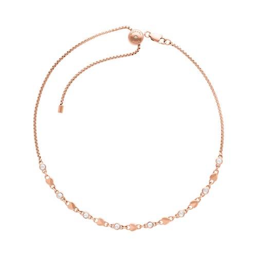Michael-Kors Logo Love Rose Gold-Tone Choker Necklace Mkj7025791 Jewelry - M..