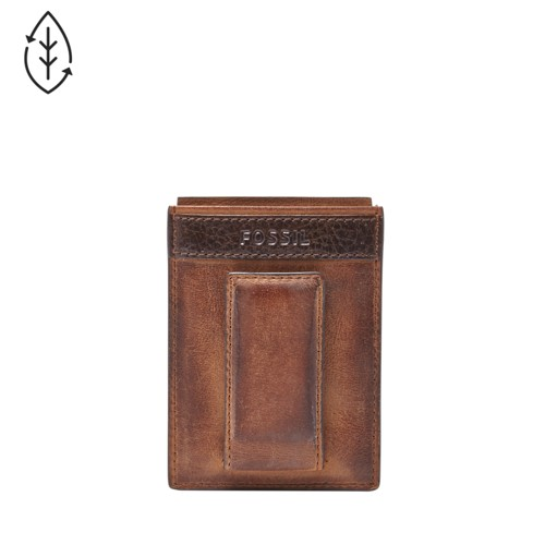 Fossil Quinn Magnetic Card Case Ml3676200 Color: Brown Wallet