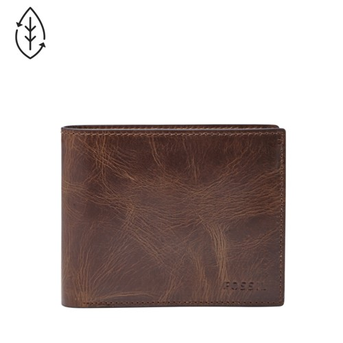 Fossil Derrick Rfid Large Coin Pocket Bifold Ml3687201 Color: Dark Brown Wallet