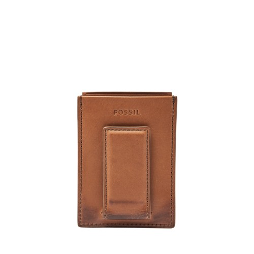 Fossil Paul Rfid Magnetic Card Case Ml3893222 Color: Cognac Wallet