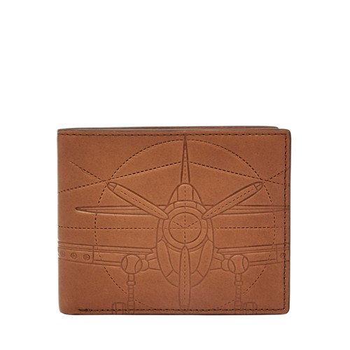 Fossil Axel Rfid Flip Id Bifold Ml3968b222 Color: Cognac Wallet