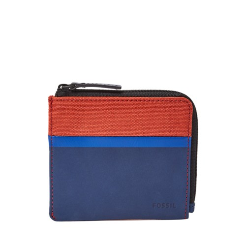 Fossil Grady L-Zip Bifold Ml3970400 Color: Navy Wallet