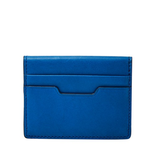 Fossil Ellis Magnetic Card Case Ml3999470 Color: Blue Wallet