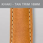 16 mm Khaki Leather with Tan Trim