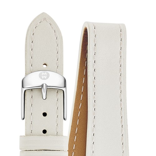 Michele 16Mm White Leather Double Wrap Strap Ms16bx270100