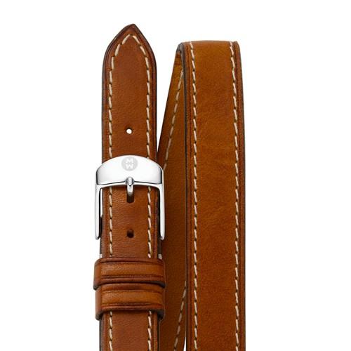Michele 18Mm Saddle Calfskin Double Wrap Strap Ms18bx270216