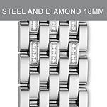18mm Caber Stainless Steel Diamond Bracelet
