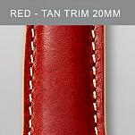 20 mm Red Leather with Tan Trim