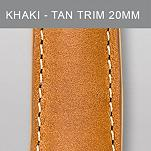 20 mm Khaki Leather with Tan Trim