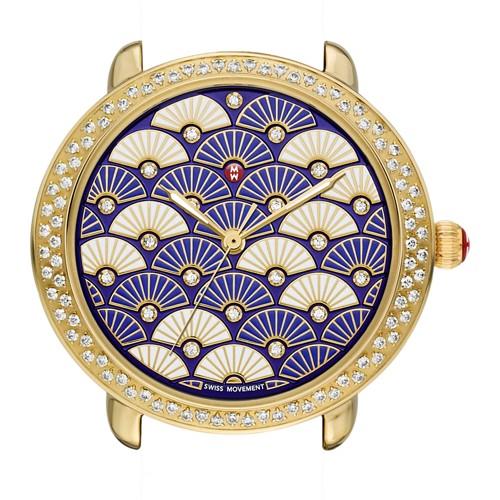 Michele Serein 16 Diamond Gold, Blue Fan Diamond Dial Mw21b01b0092 Blue