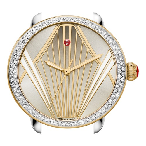 Michele Serein Broadway Diamond Two Tone, Enamel Pattern Dial Mw21g01c5100 B..