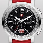 Sport Sail Large Diamond, Black Dial Garnet Alligator