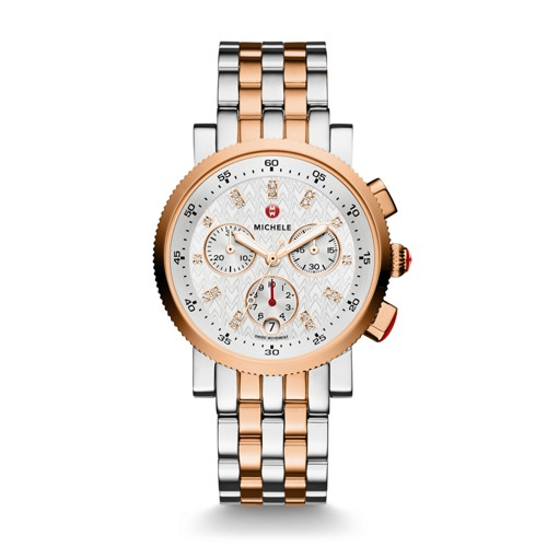 Michele Sport Sail Small Two-Tone Rose Gold, Diamond Dial Watch Mww01n000001 Silver