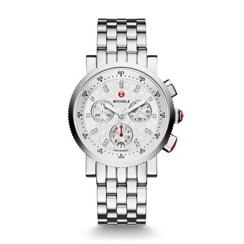 Michele Sport Sail Small, Diamond Dial Watch Mww01n000003 Silver