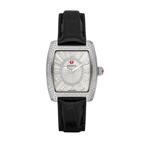Michele Urban Mini Diamond, Diamond Dial Black Alligator Watch Mww02a000574 White