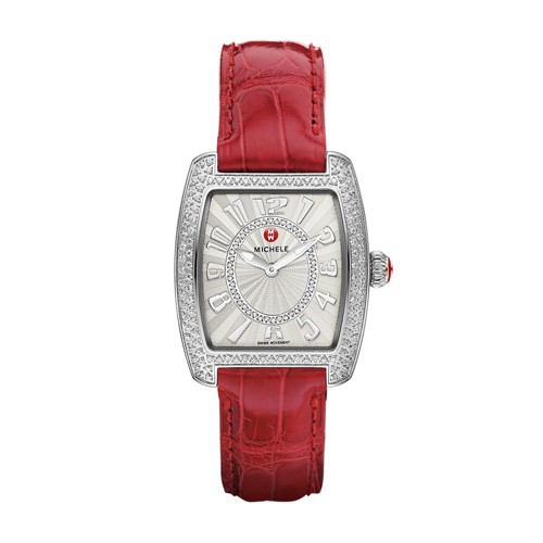 Michele Urban Mini Diamond, Diamond Dial Garnet Alligator Watch Mww02a000576 White