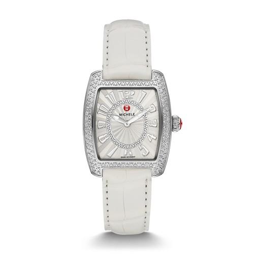 Michele Urban Mini Diamond, Diamond Dial White Alligator Watch Mww02a000577 White