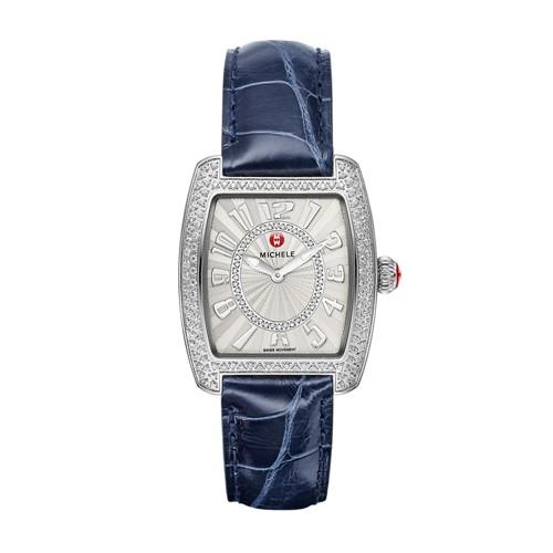 Michele Urban Mini Diamond, Diamond Dial Navy Alligator Watch Mww02a000578 White