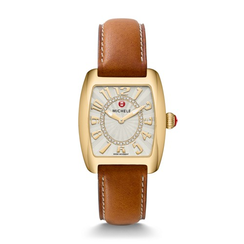Michele Urban Mini Gold, Diamond Dial Saddle Leather Watch Mww02a000597 Silver