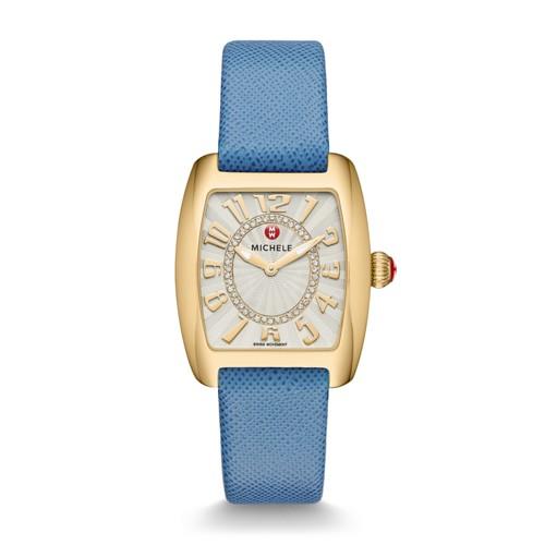 Michele Urban Mini Gold, Diamond Dial Blue Thin Saffiano Watch Mww02a000598 Silver