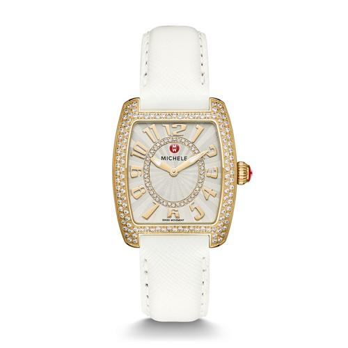 Michele Urban Mini Diamond Gold, Diamond Dial White Leather Watch Mww02a000607 Silver