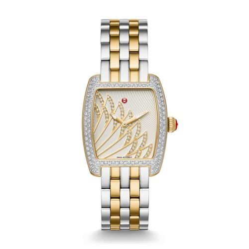 Michele Urban Mini Matine Diamond Two-Tone Gold, Diamond Dial Watch Mww02a000610 White