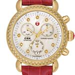 Signature CSX-36 Diamond Gold, Diamond Dial Garnet Alligator