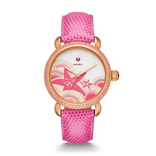 Michele Seaside Topaz Rose Gold, Starfish Diamond Dial Watch Limited Edition Of 305 Mww05a000121 Pink