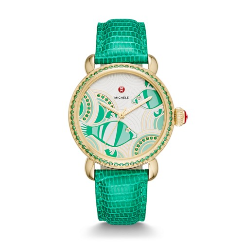 Michele Seaside Topaz Gold, Fish Diamond Dial Watch Limited Edition Of 305 Mww05a000123 Green