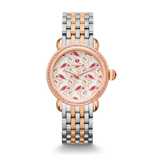 Michele Exotic Creatures Topaz Rose Gold, Flamingo Diamond Dial Watch Mww05e..