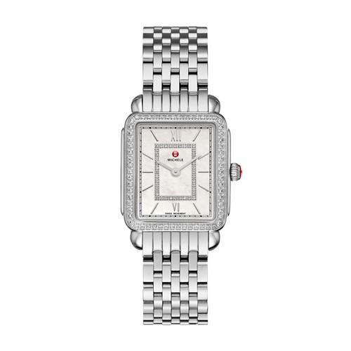 Michele Deco Ii Mid-Size Diamond, Diamond Dial Watch Mww06i000001 Mother-Of-Pearl