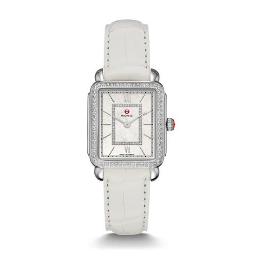 Michele Deco Ii Mid-Size Diamond, Diamond Dial White Alligator Watch Mww06i000003 Mother-Of-Pearl