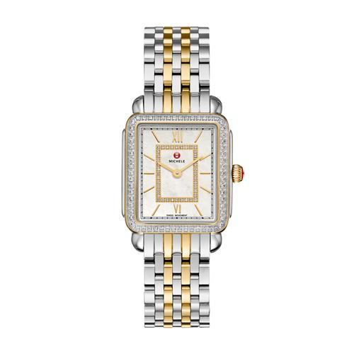 Michele Deco Ii Mid-Size Diamond Two-Tone, Diamond Dial Watch Mww06i000004 Mother-Of-Pearl