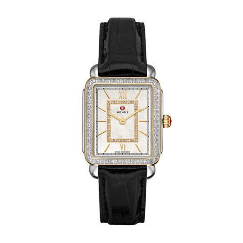 Michele Deco Ii Mid-Size Diamond Two-Tone, Diamond Dial Black Alligator Watch Mww06i000005 Mother-Of-Pearl