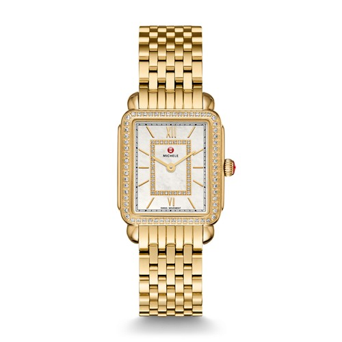 Michele Deco Ii Mid-Size Diamond Gold, Diamond Dial Watch Mww06i000007 Mother-Of-Pearl