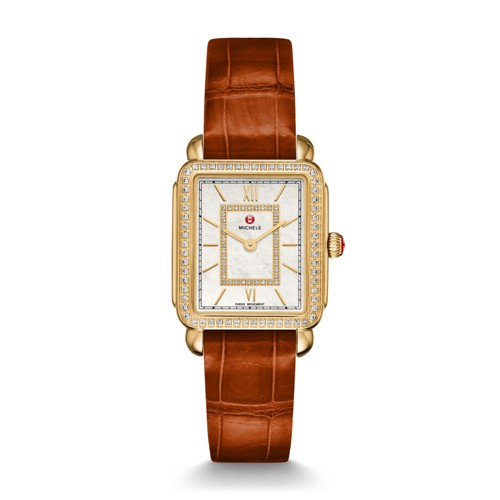 Michele Deco Ii Mid-Size Diamond Gold, Diamond Dial Coffee Alligator Watch Mww06i000008 Mother-Of-Pearl