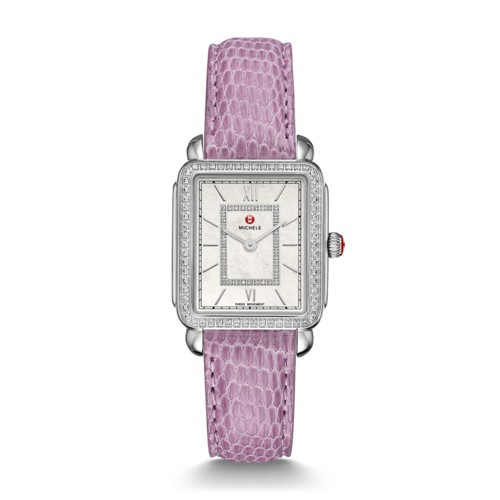 Michele Deco Ii Mid-Size Diamond, Diamond Dial Lilac Lizard Watch Mww06i000011 Mother-Of-Pearl
