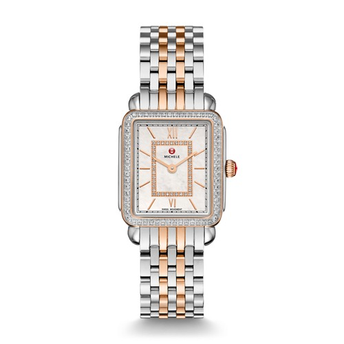 Michele Deco Ii Mid Diamond Two-Tone Rose Gold, Diamond Dial Watch Mww06i000012 Mother-Of-Pearl
