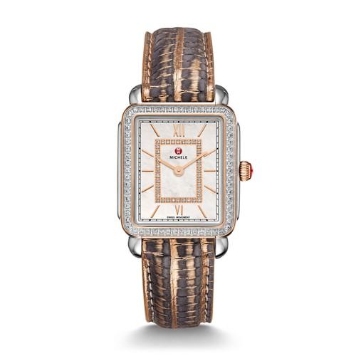 Michele Deco Ii Mid Diamond Two-Tone Rose Gold, Diamond Dial Multi Lizard Watch Mww06i000014 Mother-Of-Pearl