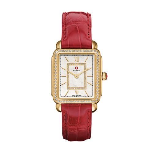 Michele Deco Ii Mid-Size Diamond Gold, Garnet Alligator Watch Mww06i000018 Mother-Of-Pearl