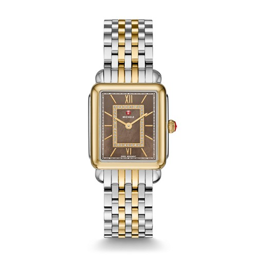 Michele Deco Ll Mid Two-Tone, Cocoa Diamond Dial Watch Mww06i000019 Mother-Of-Pearl