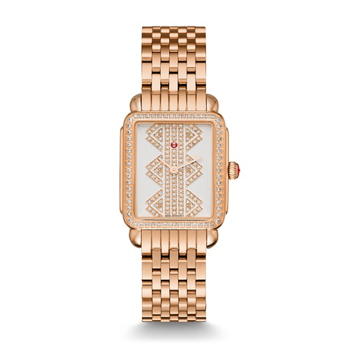 Michele Deco Ll Mid Rose Gold, Pattern Diamond Dial Watch Mww06i000021 White