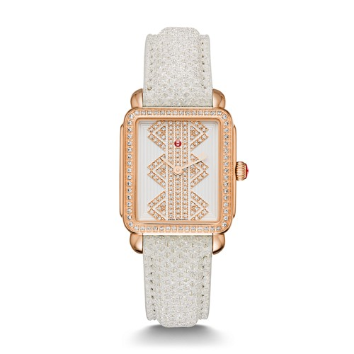 Michele Deco Ll Mid Rose Gold, Pattern Diamond Dial Snowflake Snakeskin Strap Mww06i000022 White