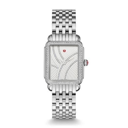 Michele Deco Ii Mid Uptown Diamond, Diamond Dial Watch Mww06i000025 Silver