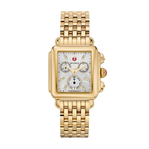 Michele Deco Diamond Dial Gold Watch Mww06p000016 Mother-Of-Pearl